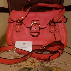 NEW COACH HOT ORANGE CAMPBELL LEATHER FLAP SATCHEL